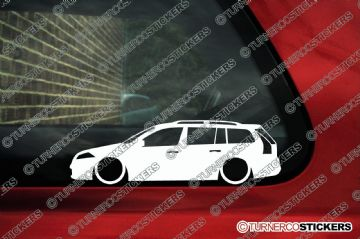 2x Low car outline stickers - Renault Megane mk2 estate wagon, 2002-2008